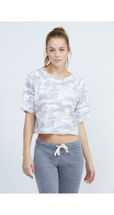 This camo printed cut off sweatshirt is the perfect mix of edgy and comfortable....