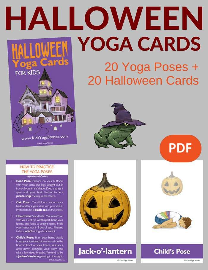 Halloween Yoga Cards for Kids  Explore this spooky holiday while moving and doin...