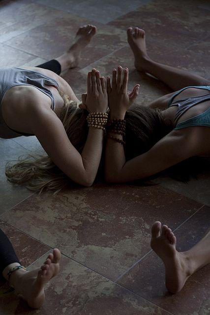 Prayer hands. Yoga posture.