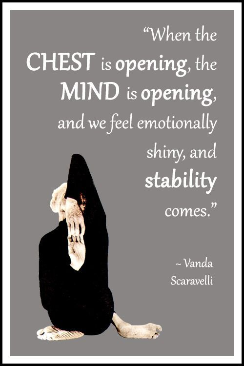 """Yoga quote by Vanda Scaravelli: """"When the chest is opening, the mind is openin..."""