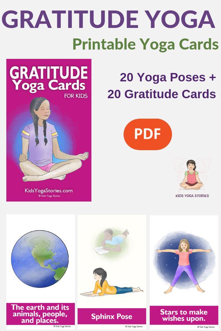 Gratitude Yoga Cards! 56 beautiful yoga cards for kids to practice gratitude. Be...