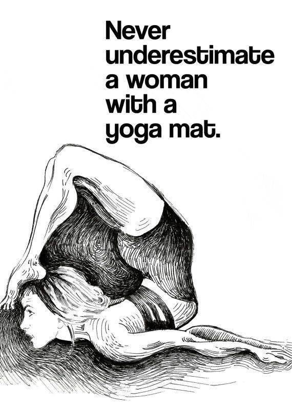 Motivational yoga quote, black and white yoga drawing, yogini, yoga gift, yoga...