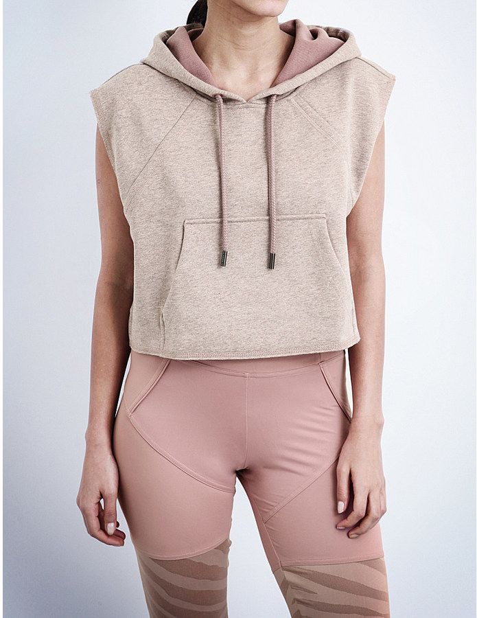 ADIDAS BY STELLA MCCARTNEY Yoga Cropped cotton-jersey hoody or lounge top perfec...
