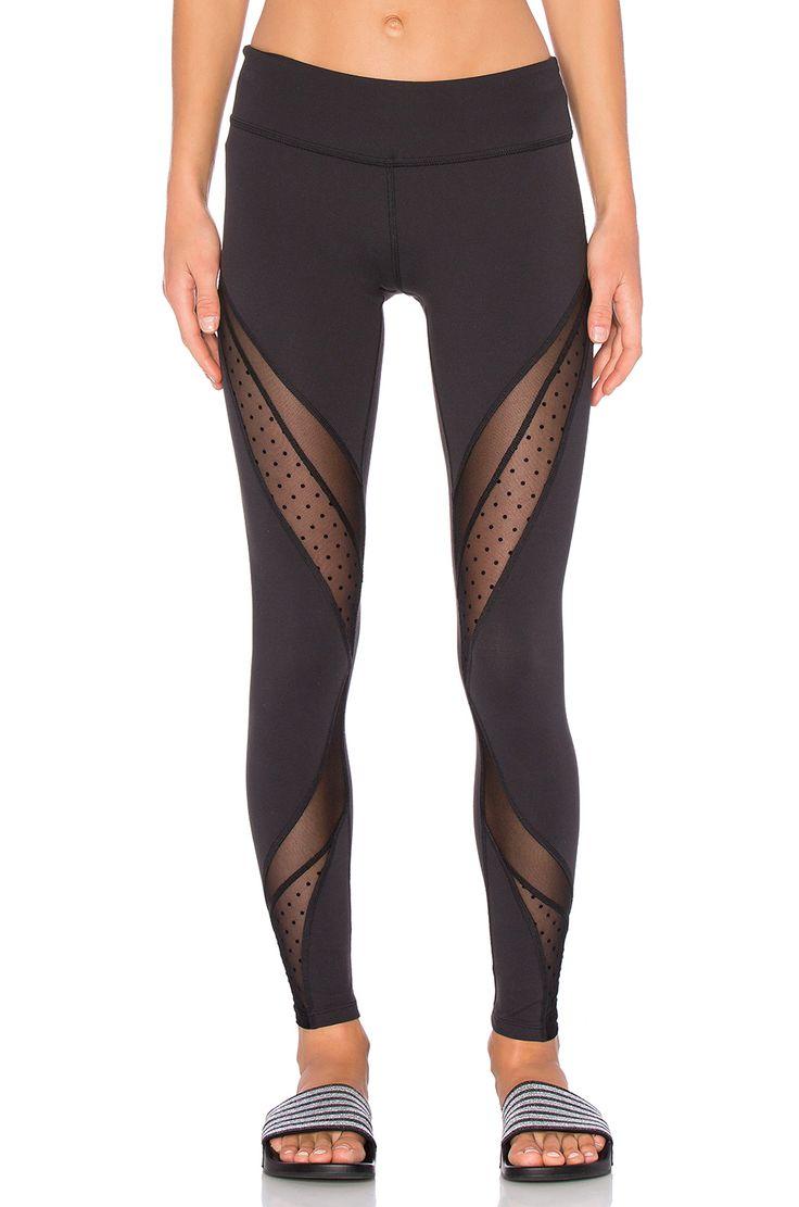 Beyond Yoga Polka Dot Mesh Long Legging in Black