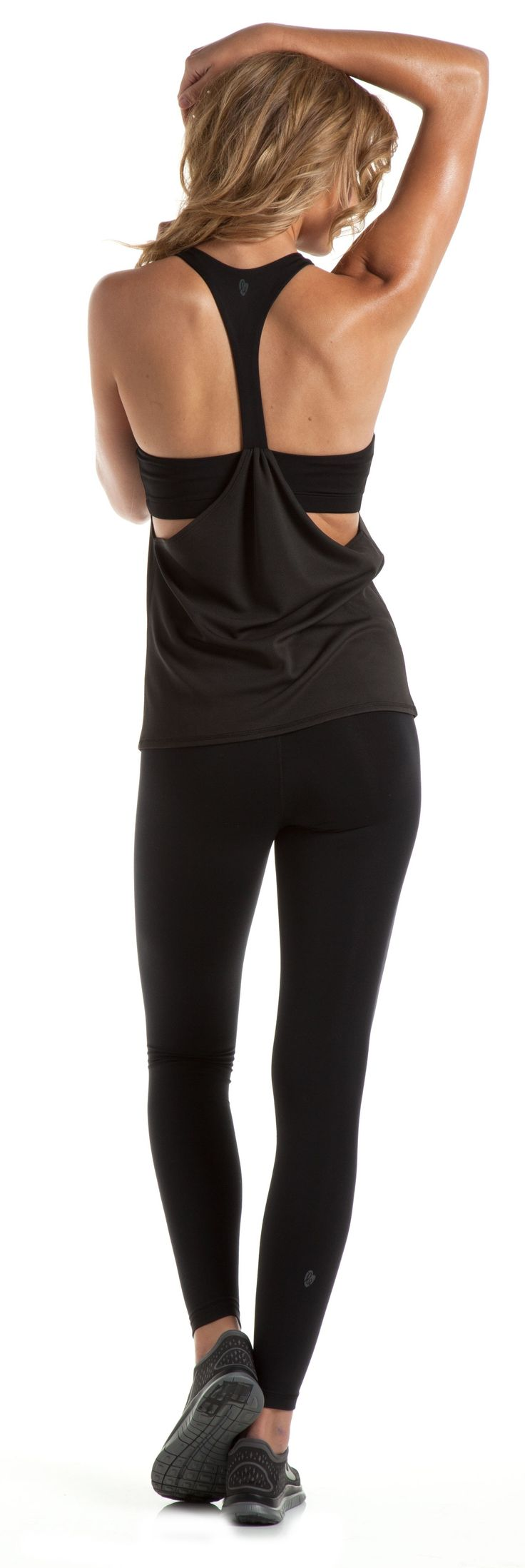 I love tight, no flare yoga pants with a draping shirt. Perfect outfit!
