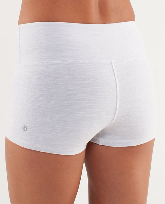 White spandex shorts, dye to purple, and stitch a grey line of spandex at the to...