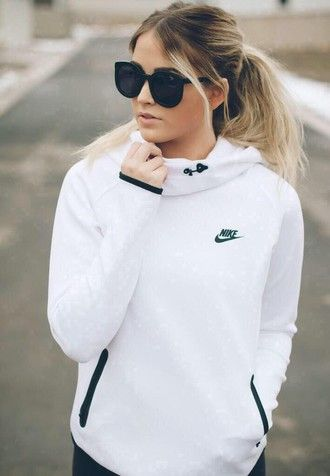 jacket white black hoodie tunnel neck nike