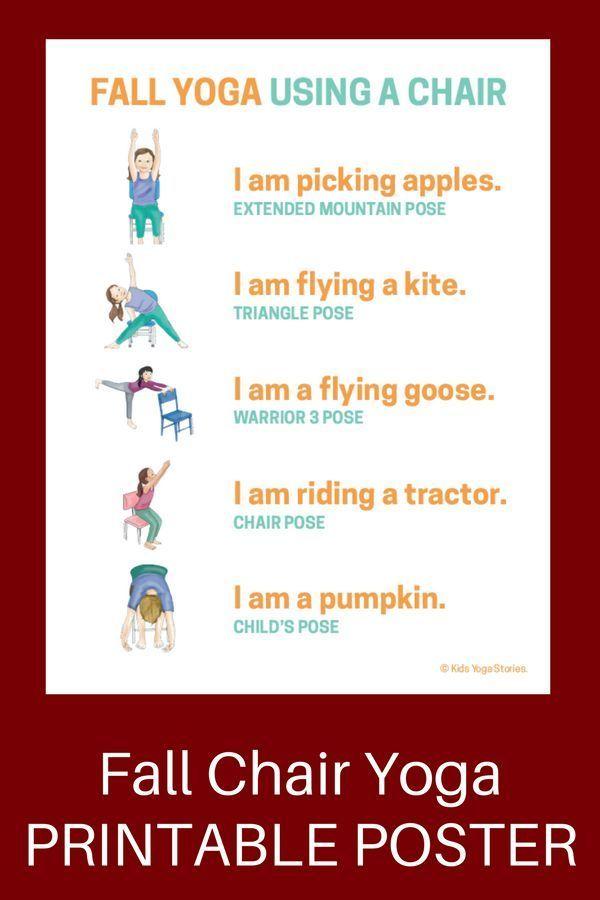 5 Fall Yoga Poses Using a Chair (Printable Poster)