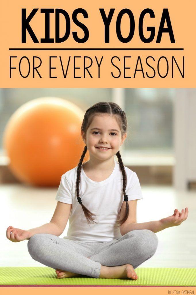 Kids yoga for every season! Incorporate yoga with a seasonal theme. Kids yoga po...