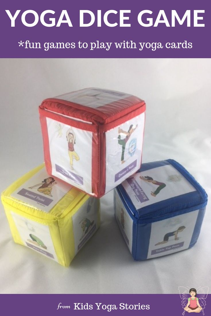 Yoga Games for Kids! Pocket dice yoga game.  Yoga card dice idea using pocket fo...