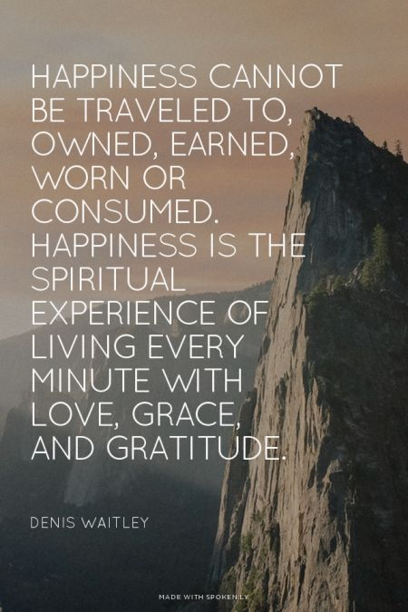 Happiness cannot be traveled to, owned, earned, worn or consumed. Happiness is t...