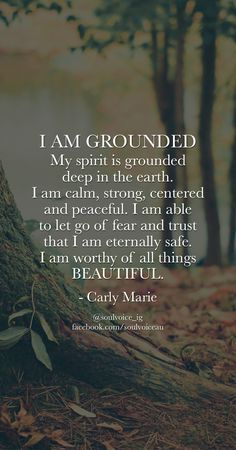 I AM GROUNDED. I am calm, strong, centered and peaceful. I am able to let go of ...