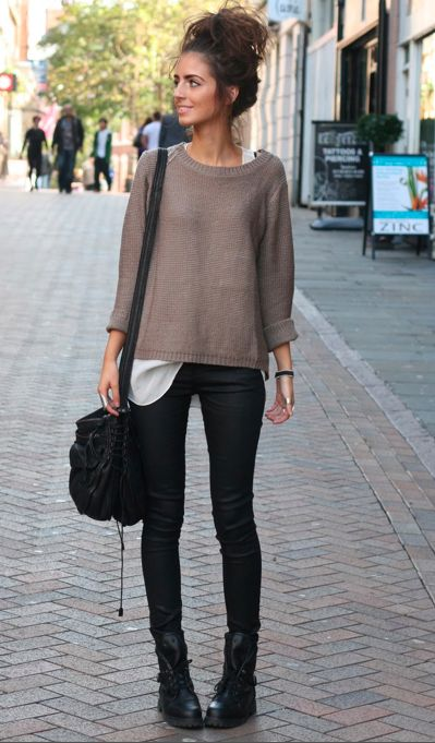 Cute and laid back outfit for the fall with the large oversized sweater, white s...