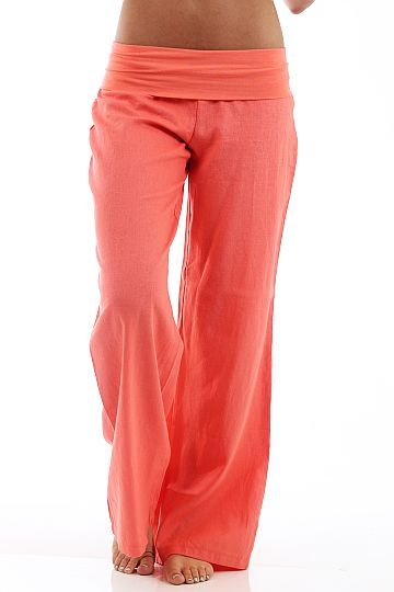 Fold Over Linen Pants, coral $40 www,themintjulepboutique.com