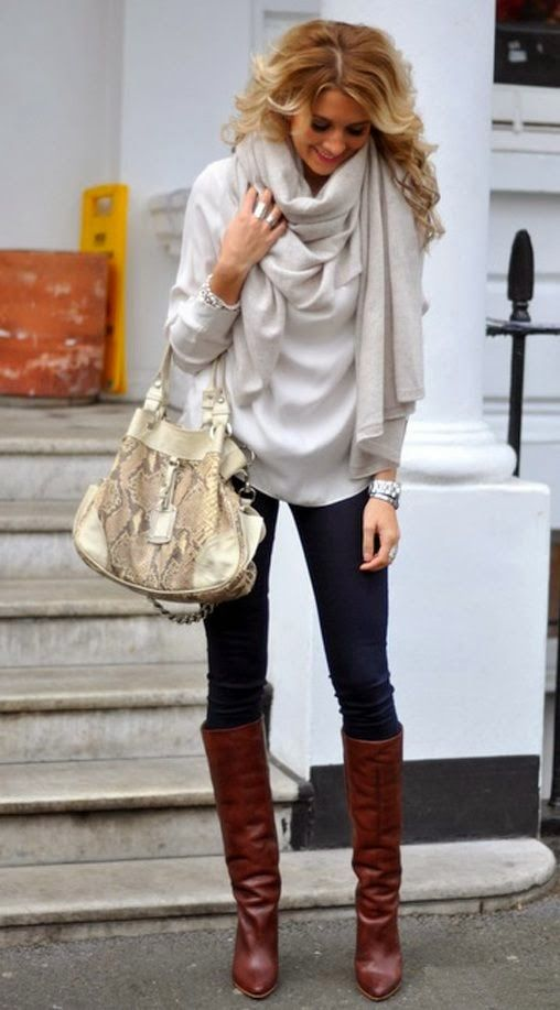 Love the boots and oversized sweater/scarf combo