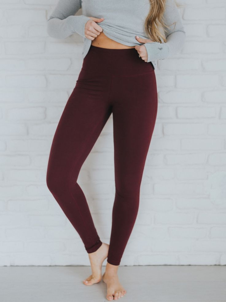 NEW High Waisted Wine Leggings! These are slimming, flattering, comfortable and ...