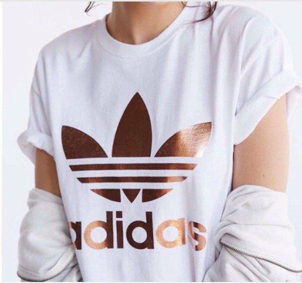Shirt: adidas, white, white and gold, t-shirt, copper, white t-shirt, t-shirt, r...