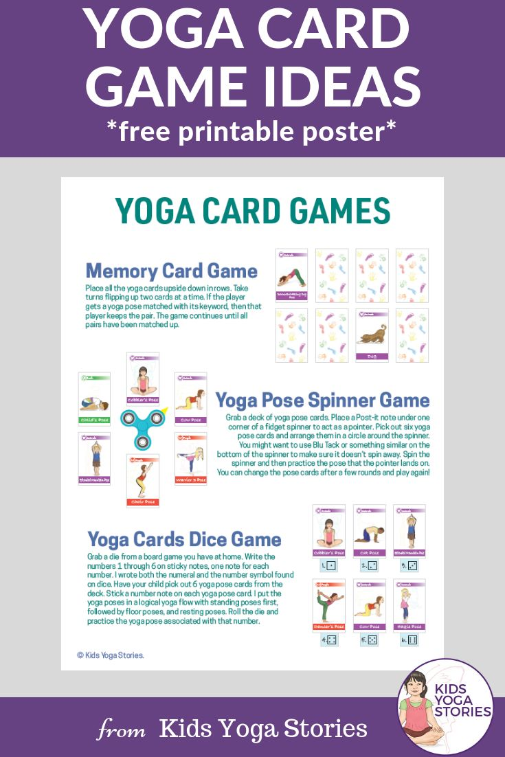 Free Yoga Games Ideas Printable!   Learn have to turn your yoga cards into games...