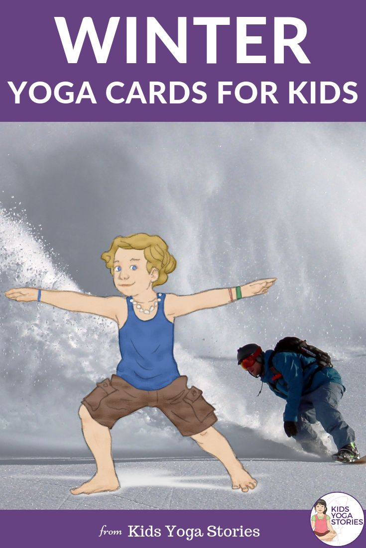 Winter Yoga Cards for Kids!   Learn about winter animals and snowy activities th...