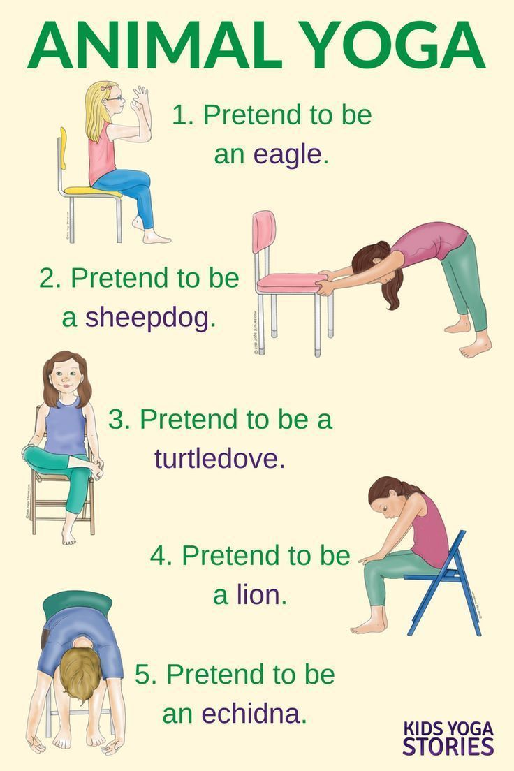 5 Yoga Animal Poses Using a Chair in your classroom or homeschool | Kids Yoga St...