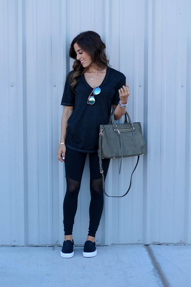 Cotton tee + mesh leggings +slide on shoes. everything you need to know about ho...