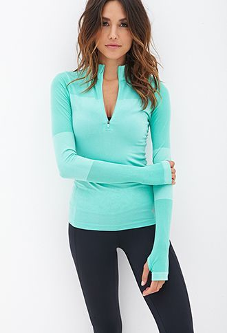 Fitted Half-Zip Pullover Jacket | FOREVER21 Bright minty color with accents on t...