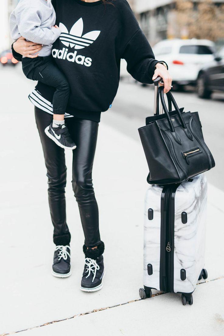 HelloFashionBlog: Black & White Comfy Chic Travel Style