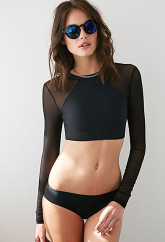 Mesh Rashguard Swimsuit Top | Forever 21 - 2000080630 Something like this, but w...