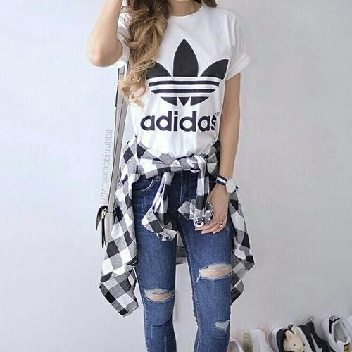 adidas tee and flannel and jeans, Adidas outfit ideas www.justtrendygir...