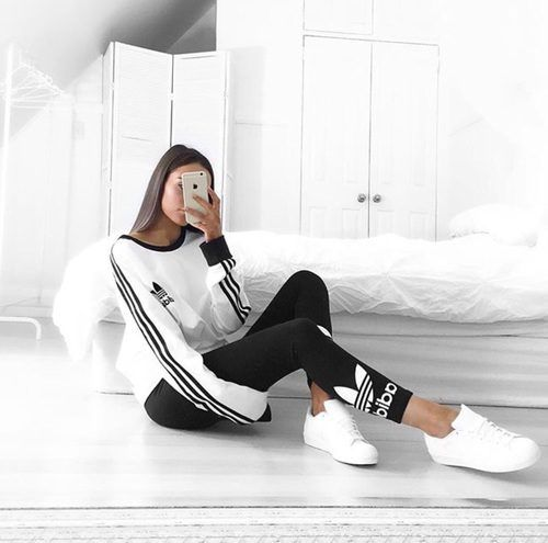 adidas white sweater outfit- Adidas outfit ideas www.justtrendygir...