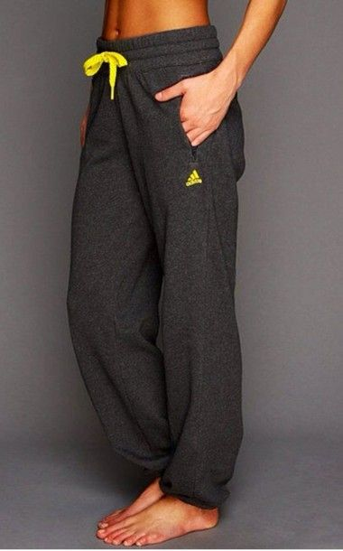 pants nike yellow grey sweatpants grey sweatpants lazy adidas cute lovely bright...