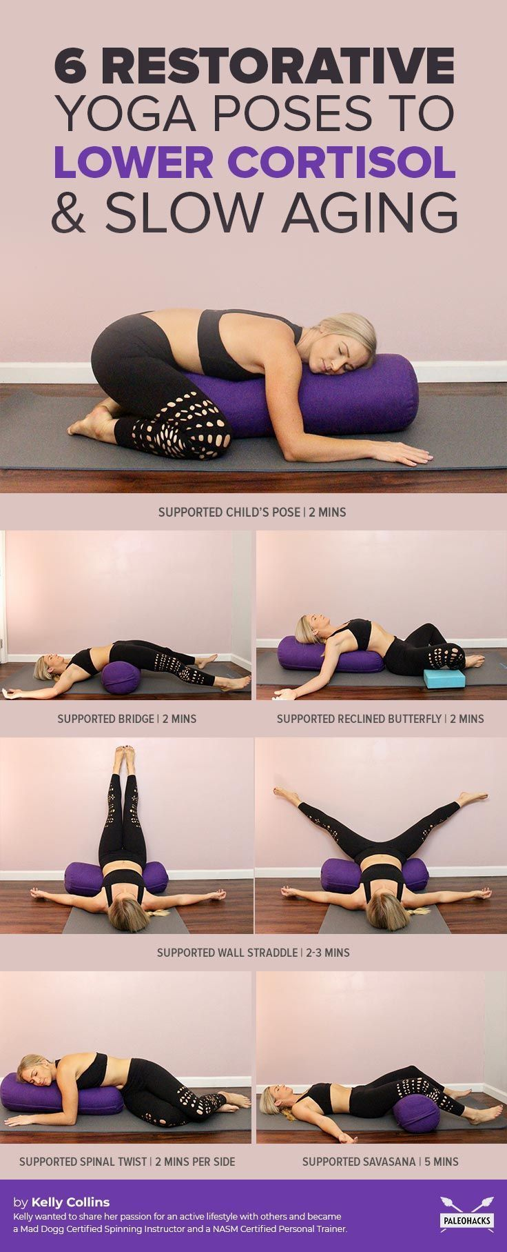 Tough day? Try this calming, restorative yoga routine to naturally lower your co...