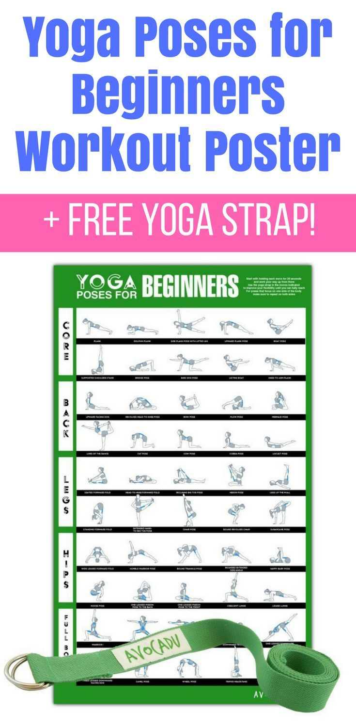 Yoga poses for beginners workout poster with free yoga strap for at-home workout...