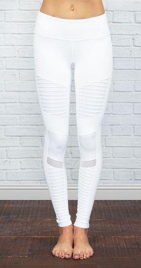 ALO YOGA | Athena Moto Legging in White/White Glossy @ www.shopblueeyedg...