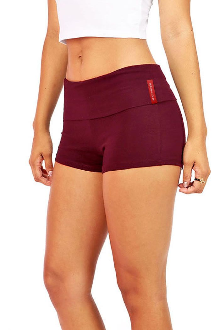 Basic mini shorts with fold over waistband. Perfect for yoga the gym or to just ...