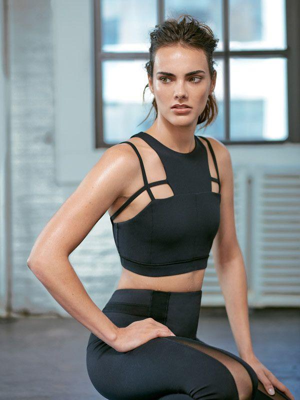 Black High Neckline Designer Cross Strap Helena Medium Support Fashionable Sport...