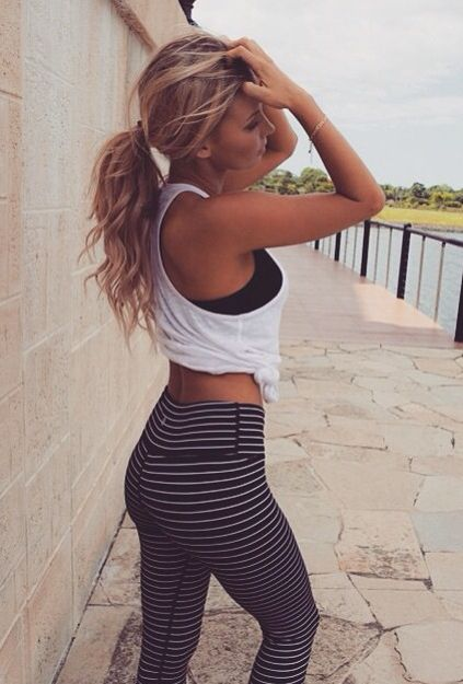 Cute Stripped workout clothes | Tights | Tank Tops | workout shorts SHOP @ Fitne...