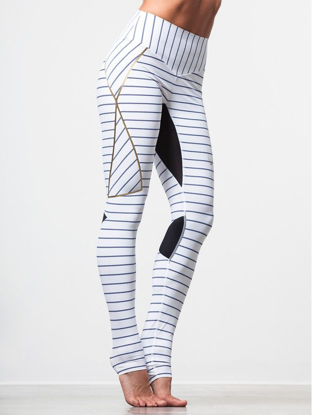 You'll be ready to battle any workout when you slide into these pinstriped, lu...