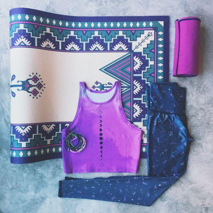 The perfect combo of bright lavender + cool grey from Teeki & La Vie Boheme Yoga...