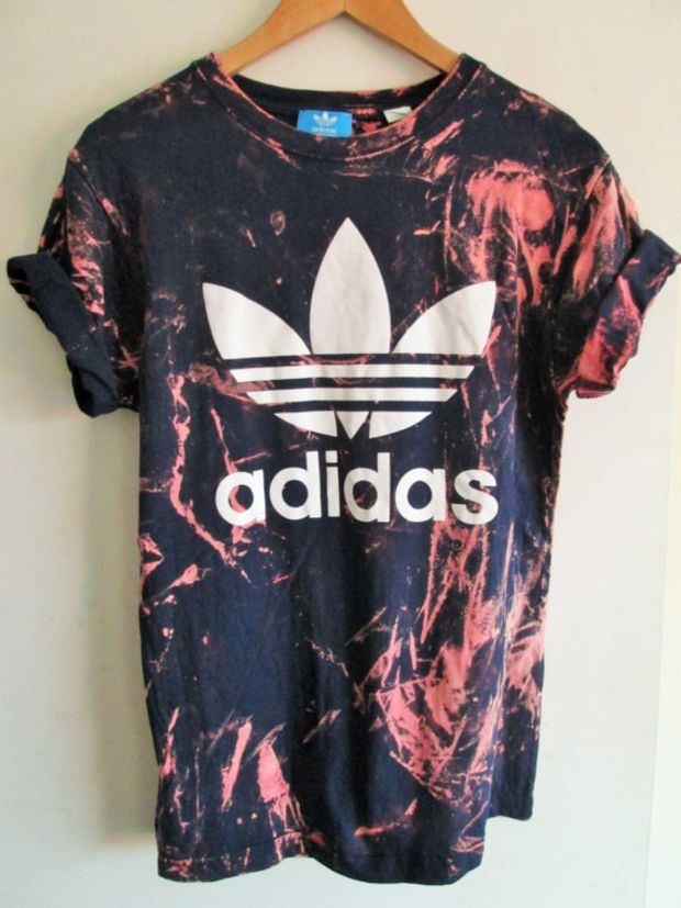 Vintage acid wash tie dye adidas originals retro rave festival unique urban grun...