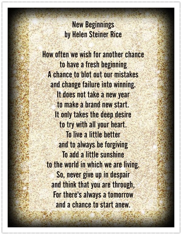 ~New Beginnings ~ by Helen Steiner Rice