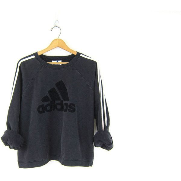 90's Vintage ADIDAS sweatshirt. faded black slocuhy sweatshirt Sporty... ($2...