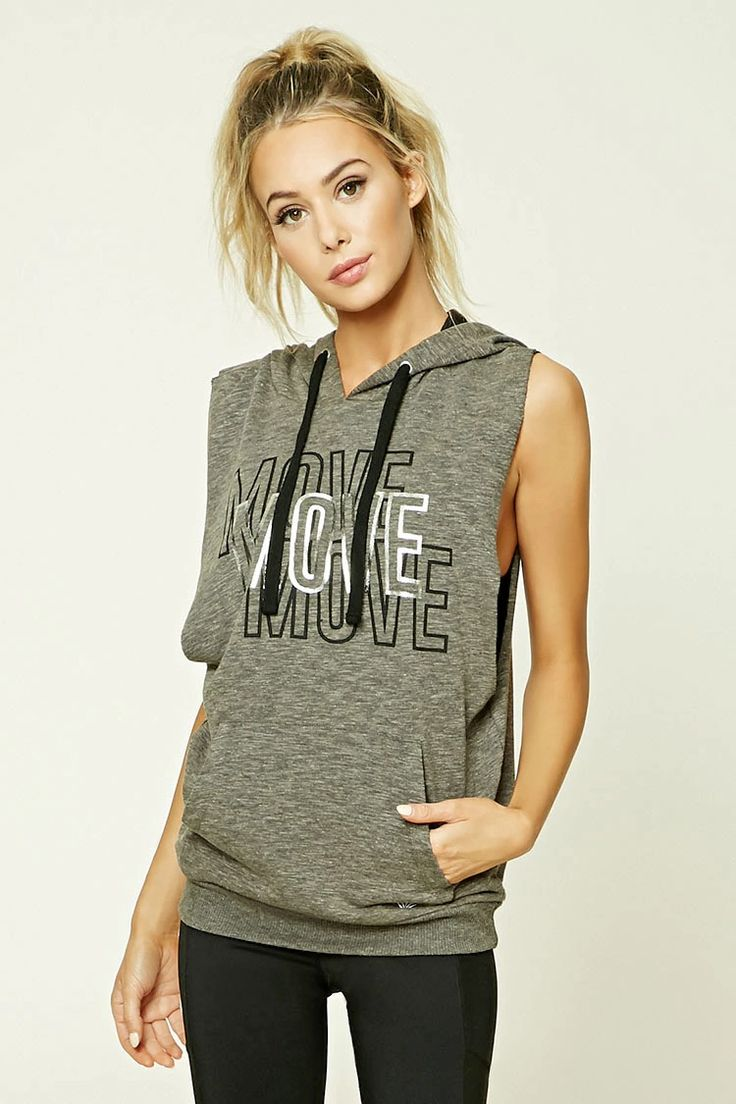 """An active French terry knit sweatshirt featuring a front """"Move"""" graphic with..."""