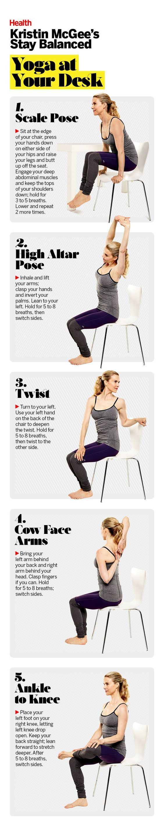 DownDog Healthy Living & Eating: Yoga at your desk with Kristin McGee. From the ...