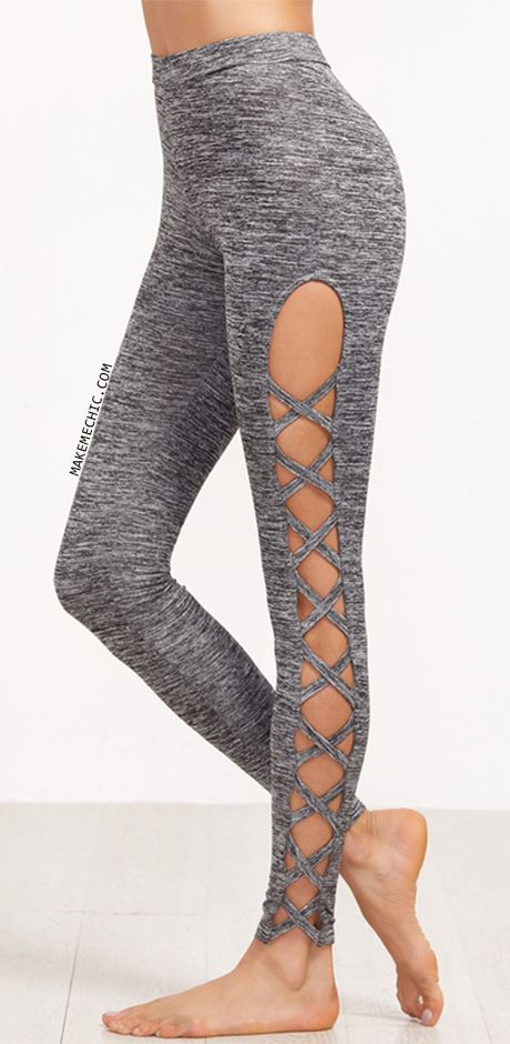 Grey Marled Knit Cutout Lattice Detail Leggings | MakeMeChic.COM