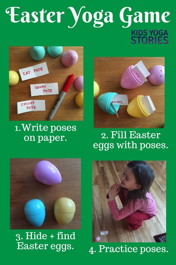 Easter yoga game to learn fun yoga poses and add movement to your Easter celebra...