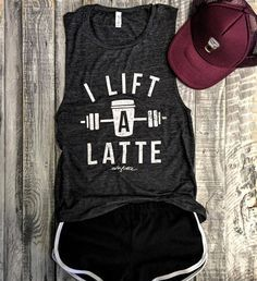 I Lift A Latte in Charcoal/white Grey Workout Top, Muscle Tank, Coffee, Weight...