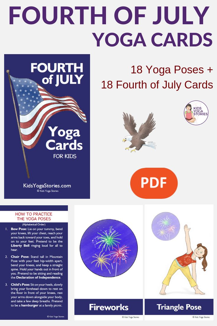 Fourth of July Yoga Cards for Kids