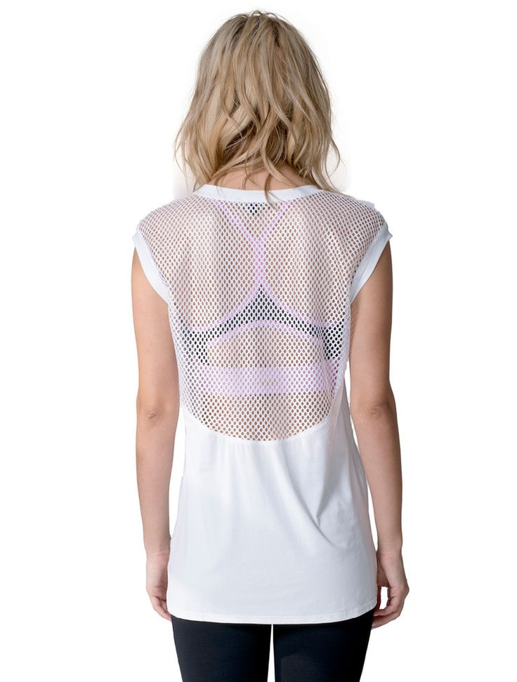 Our best selling tee is back this spring. Made in an airy fabric and sexy mesh...