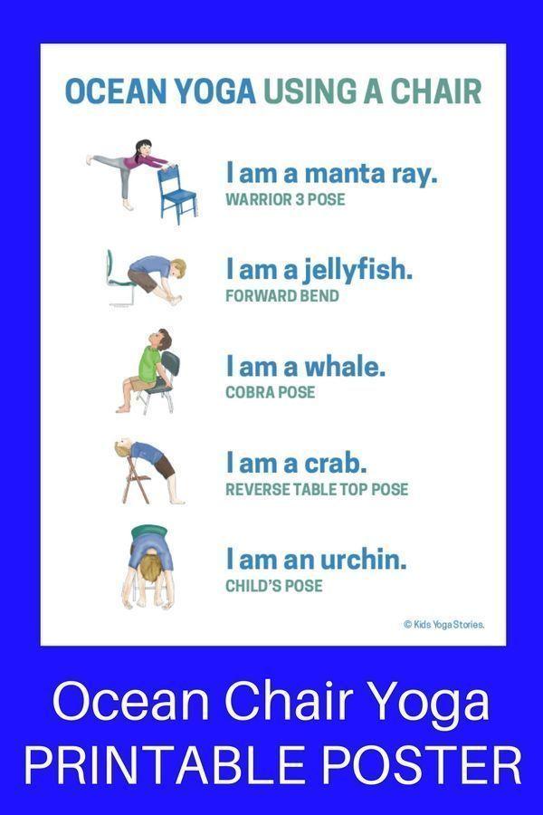 5 Ocean Yoga Poses Using a Chair (Printable Poster